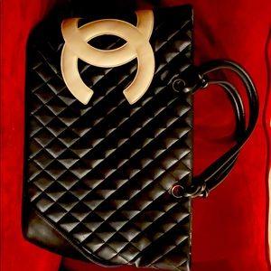 Chanel Black Leather Cambon Tote